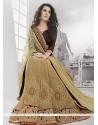 Stylish Beige Brasso Net Designer Saree