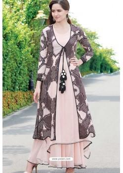 Glossy Baby Pink Designer Readymade Kurti