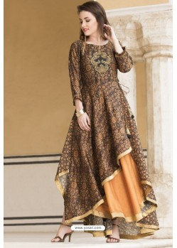 Glossy Brown Designer Readymade Kurti