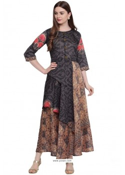 Glossy Multi Colour Party Wear Gown for Girls