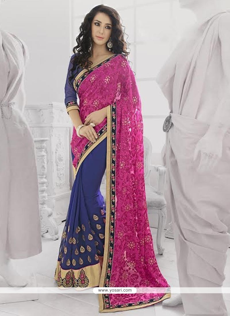 Stupendous Pink And Blue Georgette Saree