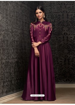 Fabulous Deep Wine Party Wear Gown for Girls