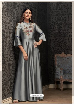 Glossy Grey Party Wear Gown for Girls