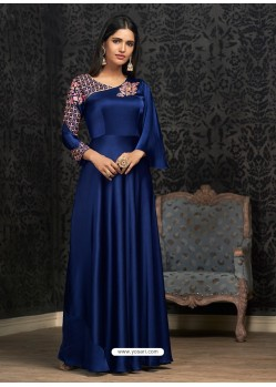 Glossy Navy Blue Party Wear Gown for Girls