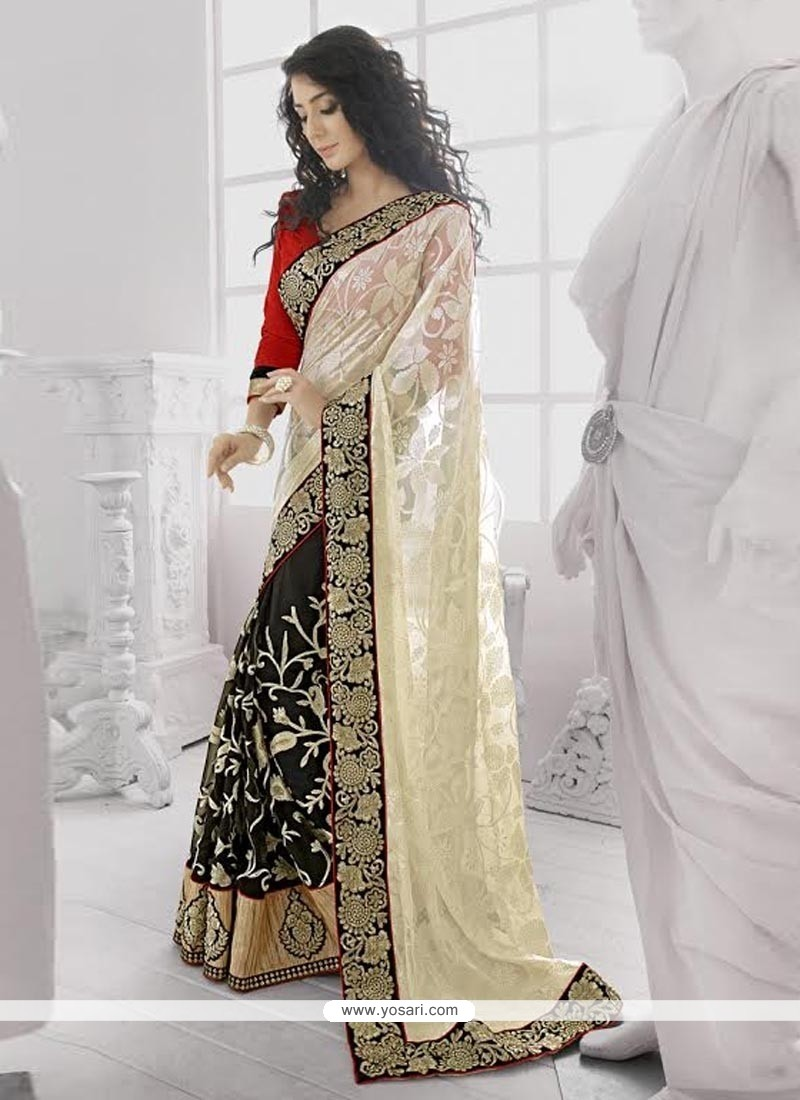 Black And Off White Georgette Designer Saree