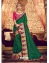 Classy Forest Green Designer Party Wear Sari