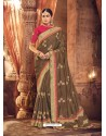 Dashing Brown Designer Party Wear Sari