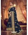 Trendy Peacock Blue Designer Party Wear Sari
