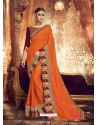Trendy Orange Designer Party Wear Sari