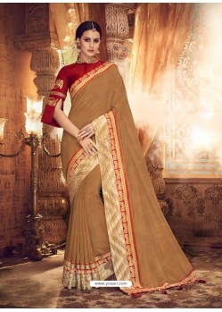 Camel Designer Party Wear Sari