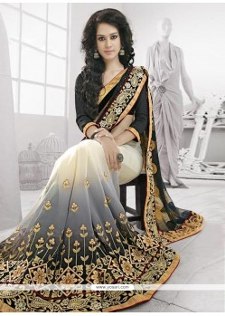 Black And Grey Shaded Georgette And Net Designer Saree