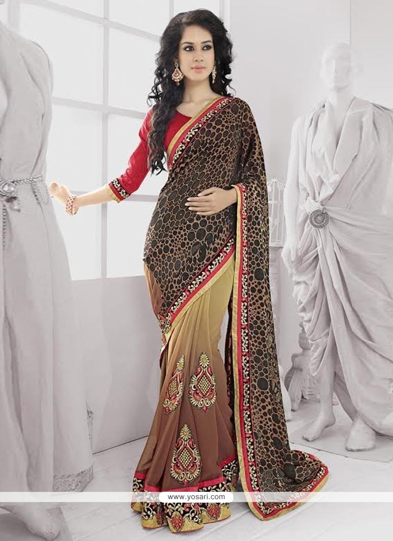 Black And Brown Shaded Brasso Designer Saree