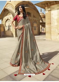 Grey Designer Party Wear Sari
