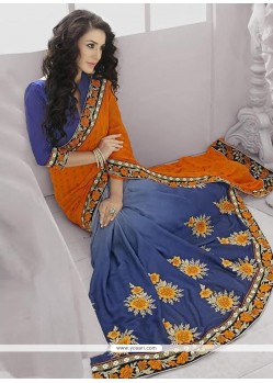 Elite Orange And Blue Shaded Georgette Saree