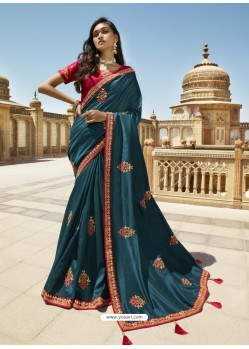 Peacock Blue Designer Party Wear Sari