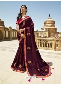 Wine Designer Party Wear Sari