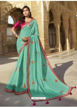 Firozi Designer Party Wear Sari