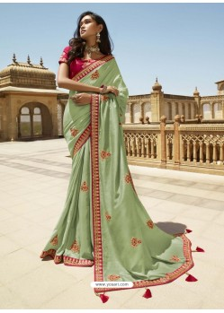 Sea Green Designer Party Wear Sari