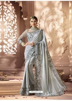 Silver Designer Wedding Sari
