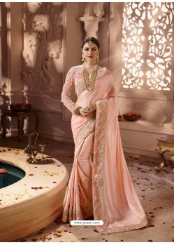 Light Orange Designer Wedding Sari
