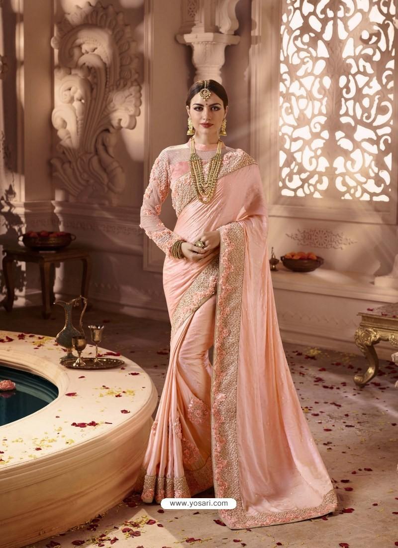 Light Orange Designer Wedding Sari