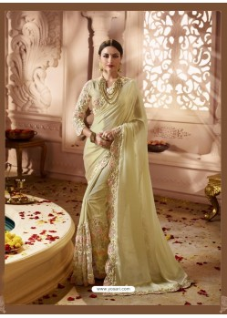 Khaki Designer Wedding Sari