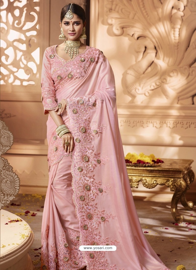 Pink Designer Wedding Sari