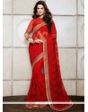 Enthralling Red Net Wedding Saree