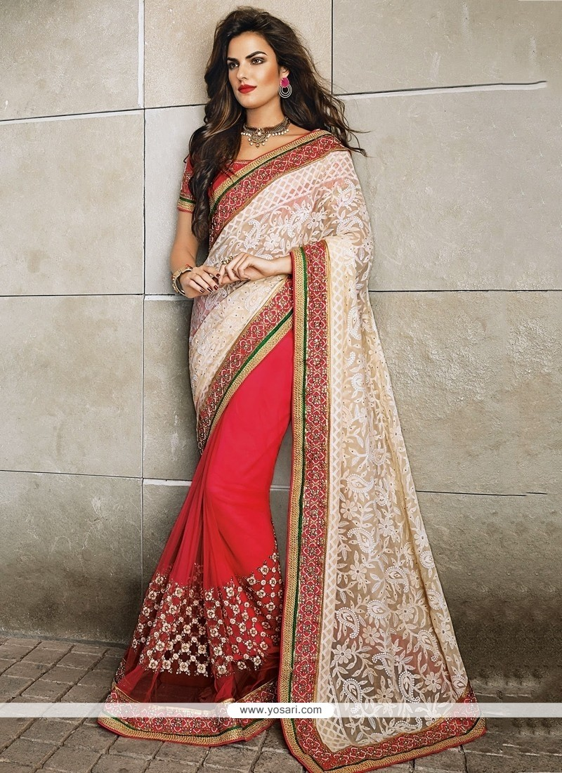 Hot Pink And White Net Designer Saree