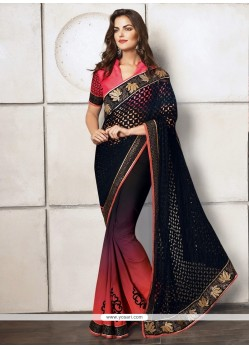 Ombre Black Velvet And Satin Designer Saree
