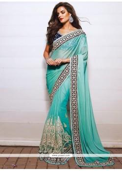 Turquoise Blue Net Designer Saree