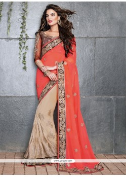 Beige And Peach Georgette Designer Saree