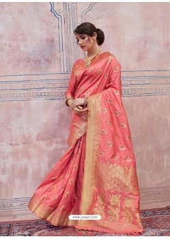 Peach Designer Silk Party Wear Sari