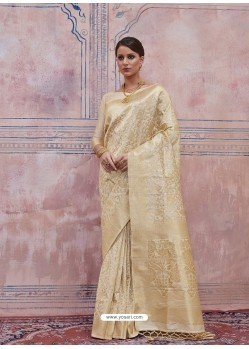 Off White Designer Silk Party Wear Sari