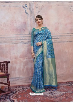 Blue Designer Silk Party Wear Sari