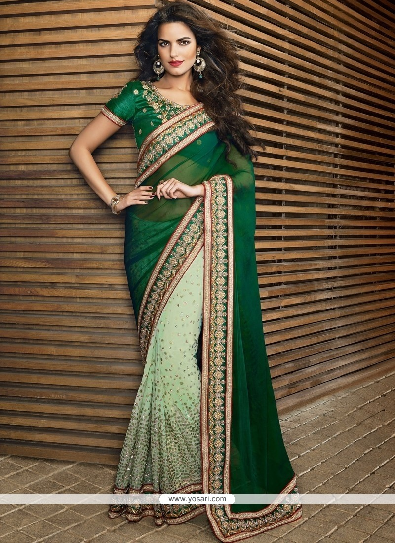 Modish Green Chiffon And Net Designer Saree