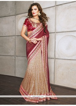 Maroon And Beige Chiffon Designer Saree
