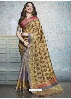 Khaki Heavy Embroidered Designer Silk Sari