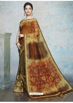 Multi Colour Heavy Embroidered Designer Silk Sari