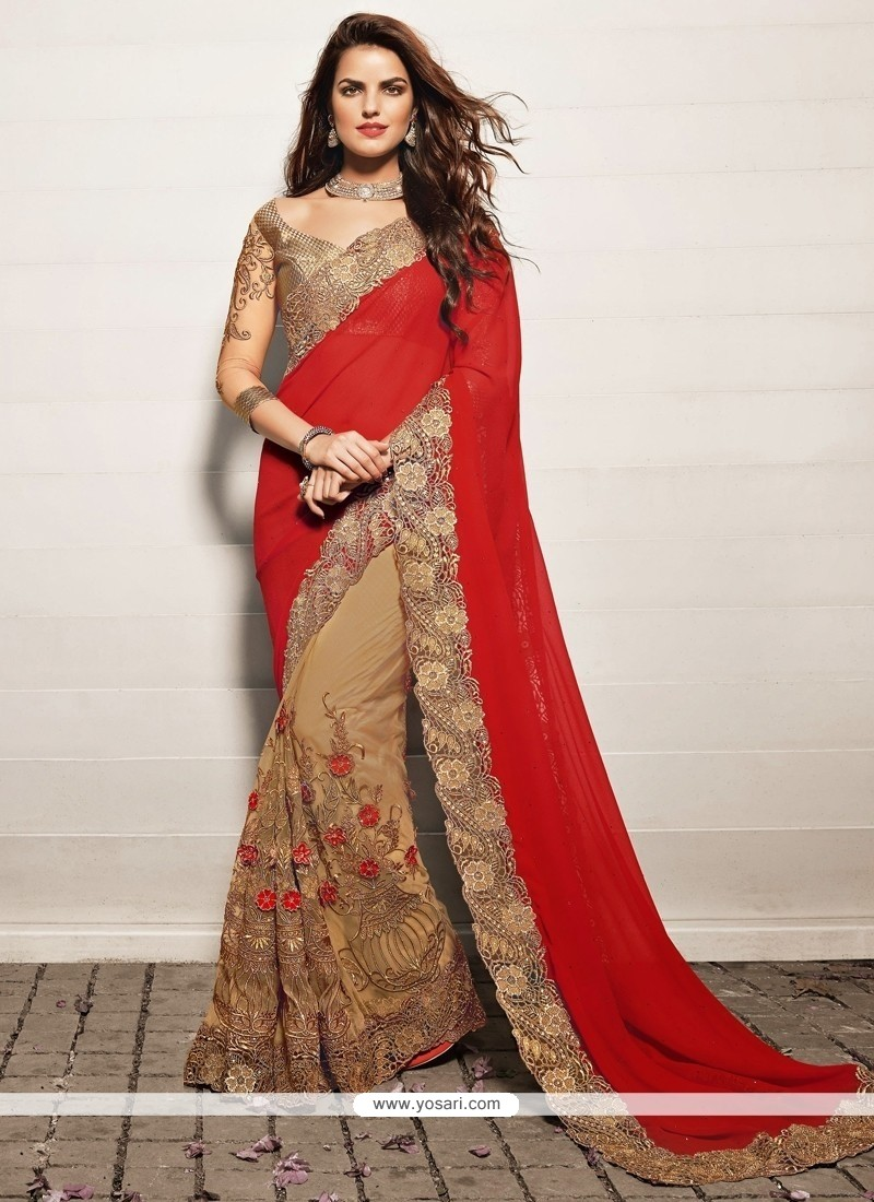 Flashy Beige And Red Georgette Designer Saree