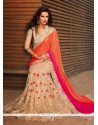Stylish Beige And Pink Net Designer Saree
