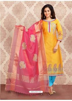 Yellow Embroidered Designer Churidar Salwar Suit