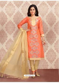 Orange Embroidered Designer Churidar Salwar Suit
