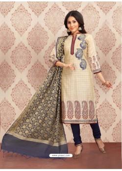 Light Beige Embroidered Designer Churidar Salwar Suit