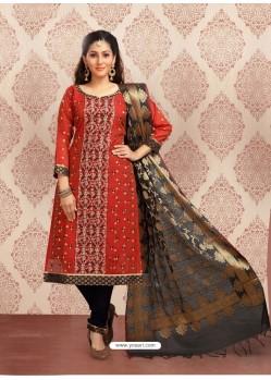 Red Embroidered Designer Churidar Salwar Suit