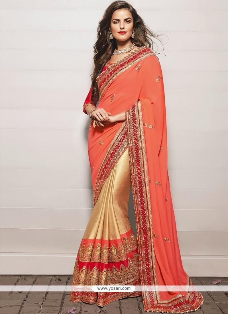 Refreshing Beige And Peach Satin Designer Saree