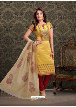 Yellow Embroidered Designer Churidar Salwar Suit