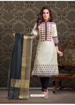 Off White Embroidered Designer Churidar Salwar Suit