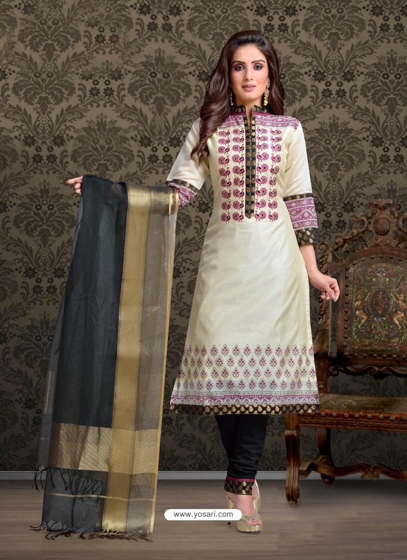 Off White Embroidered Designer Churidar Salwar Suit