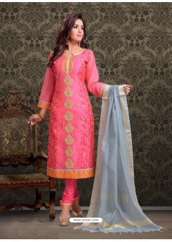 Fuchsia Embroidered Designer Churidar Salwar Suit